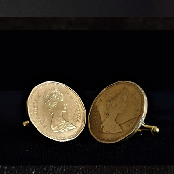 Canadia One Dollar 1987 Bronze Coin Cuff Links 26.45mm v3