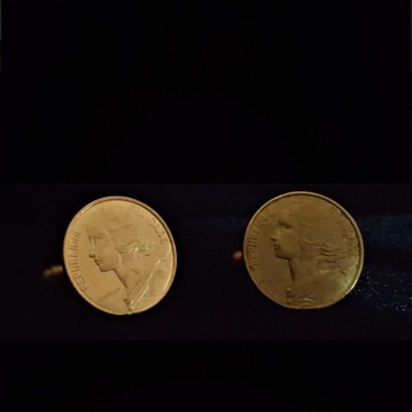 France Ten Centimes 1966 Bronze Cuflinks 20.00mm v5