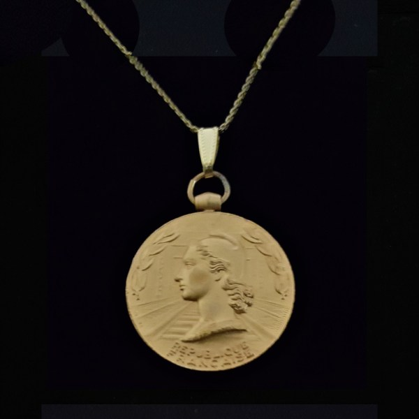 French 1955 Gold Plated Copper Medal French Woman Marianne by Guiraud .70 oz.1.26 ix x32.00 x 4.20 mm 16.5 in Square Box Gold Plated Chain 15.56 OB MOD