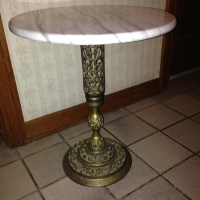 SOLD! Vintage Round Marble Top Table with Ornate Brass