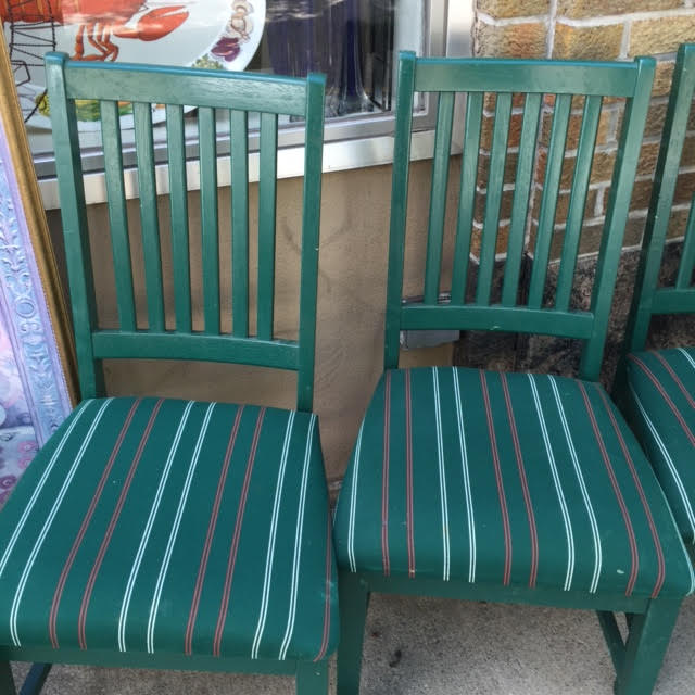 Set of Four Dining Chairs – Green Stripes