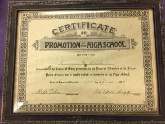 Certificate of Promotion to the High School  Lawrence Worden 1929  Heritage Collectibles
