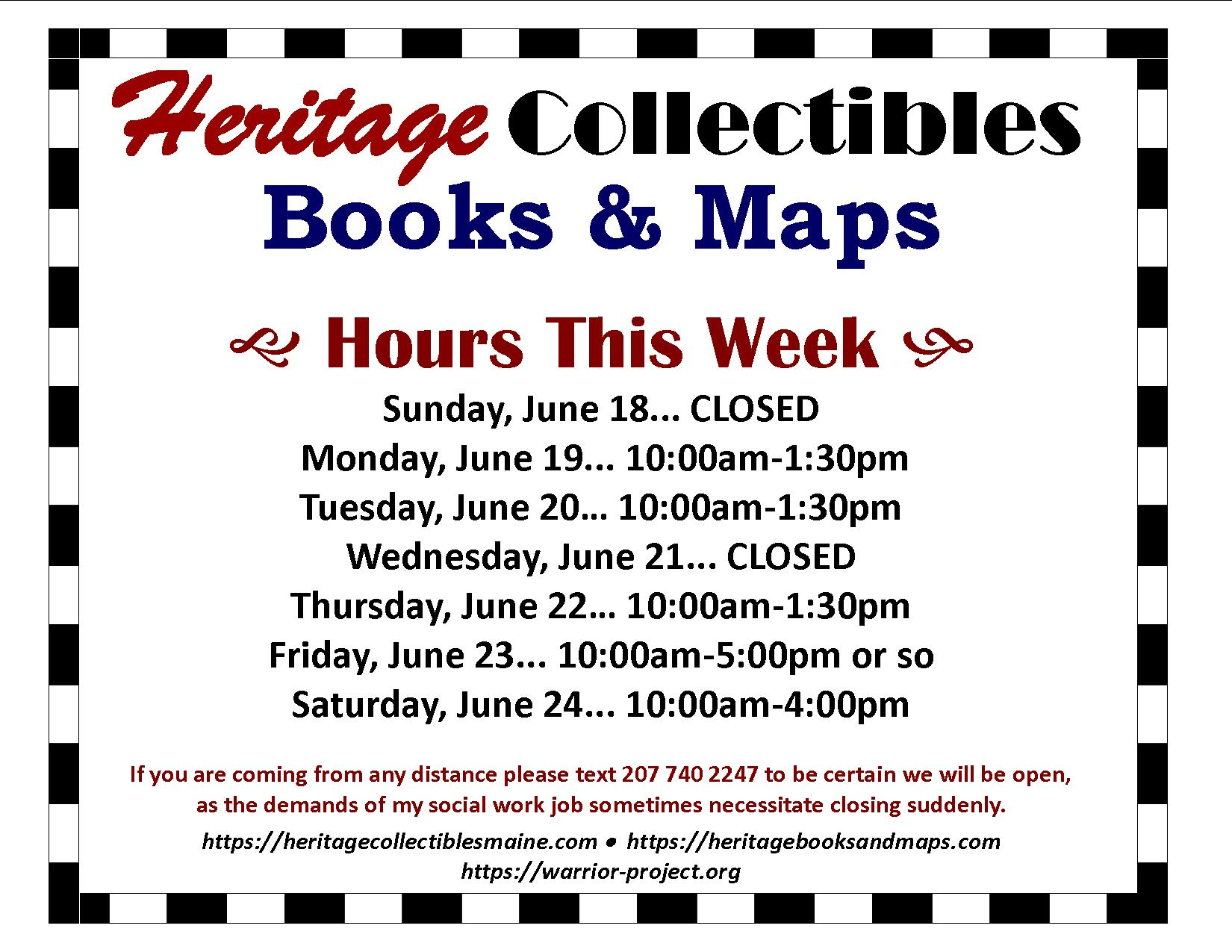 Hours for the Week of 06/18-06/24, 2017 – Vintage, Kitsch, Retro, and Some Junk!