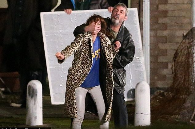 Man Behaving Badly: Neil Morrissey grabs Anna Friel around the mouth as they film intense fight scene on the set of Urban And The Shed Crew