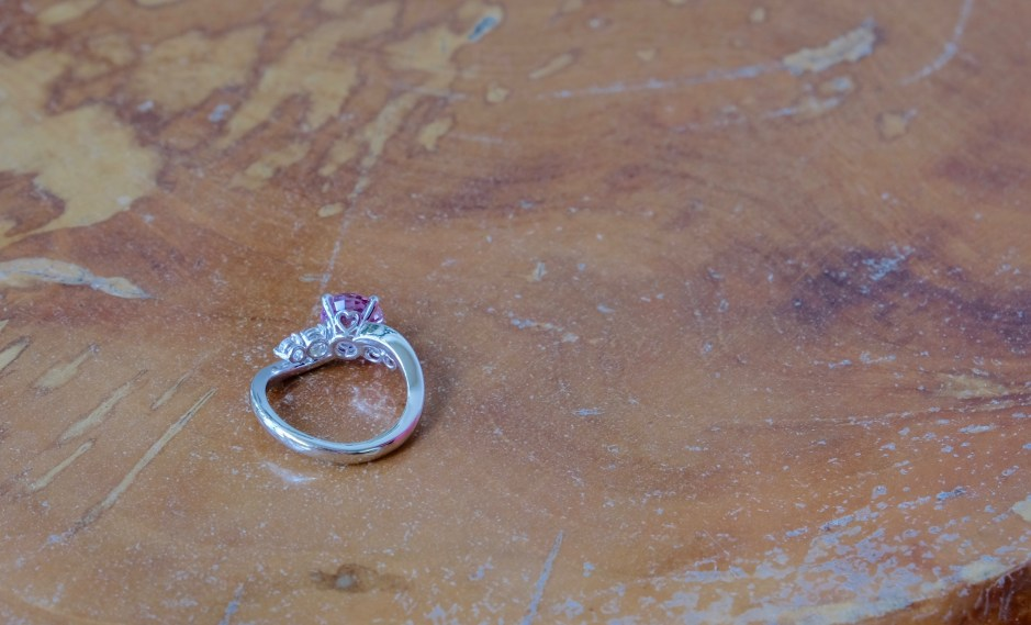 Unheat Pink Sapphire Ring with Heart Detailing