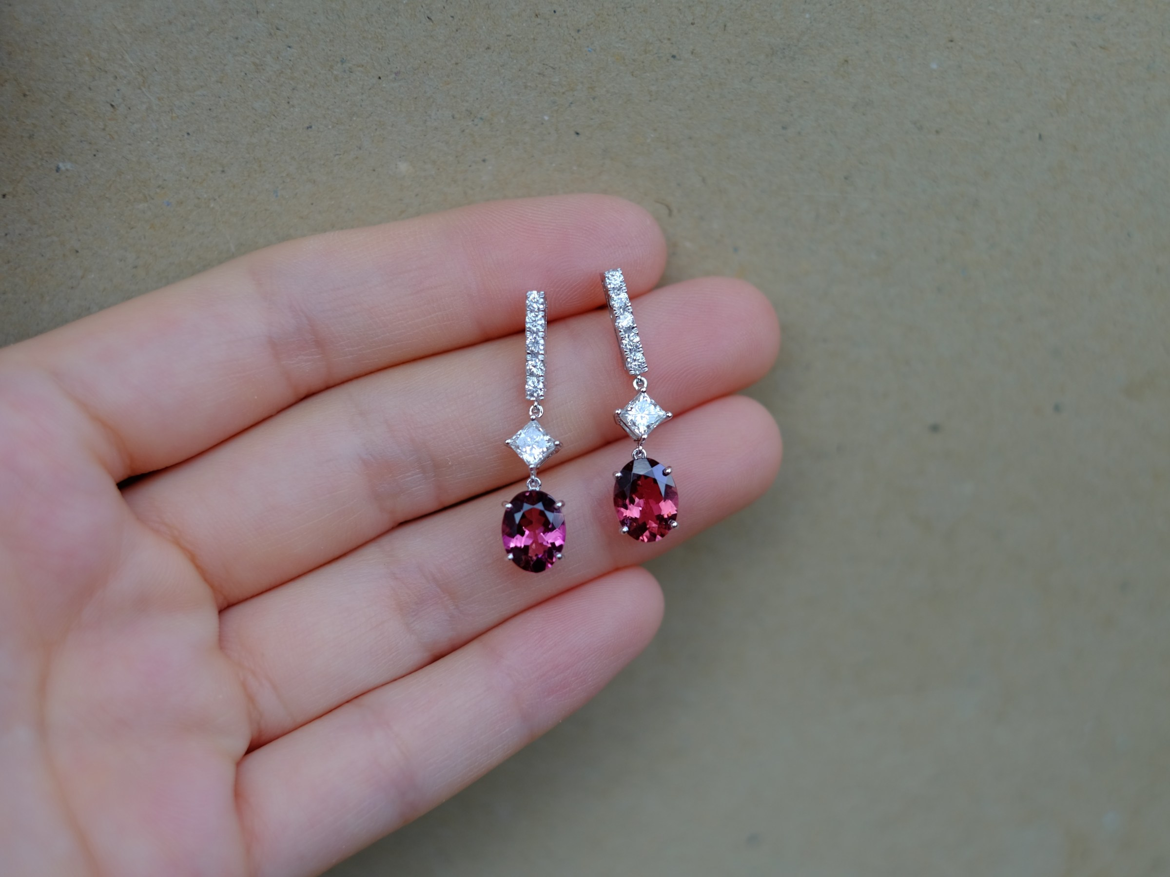 Pink Tourmaline Princess Cut Diamond Earrings