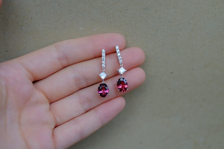 Pink Tourmaline Princess Cut Diamond Earrings