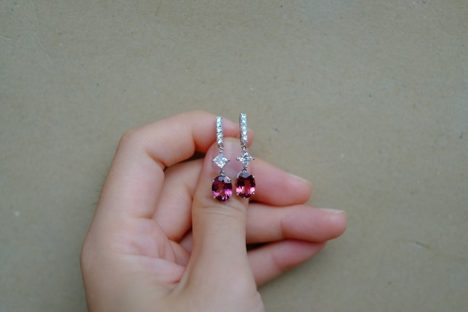Pink Tourmaline Diamond Bridal Earrings