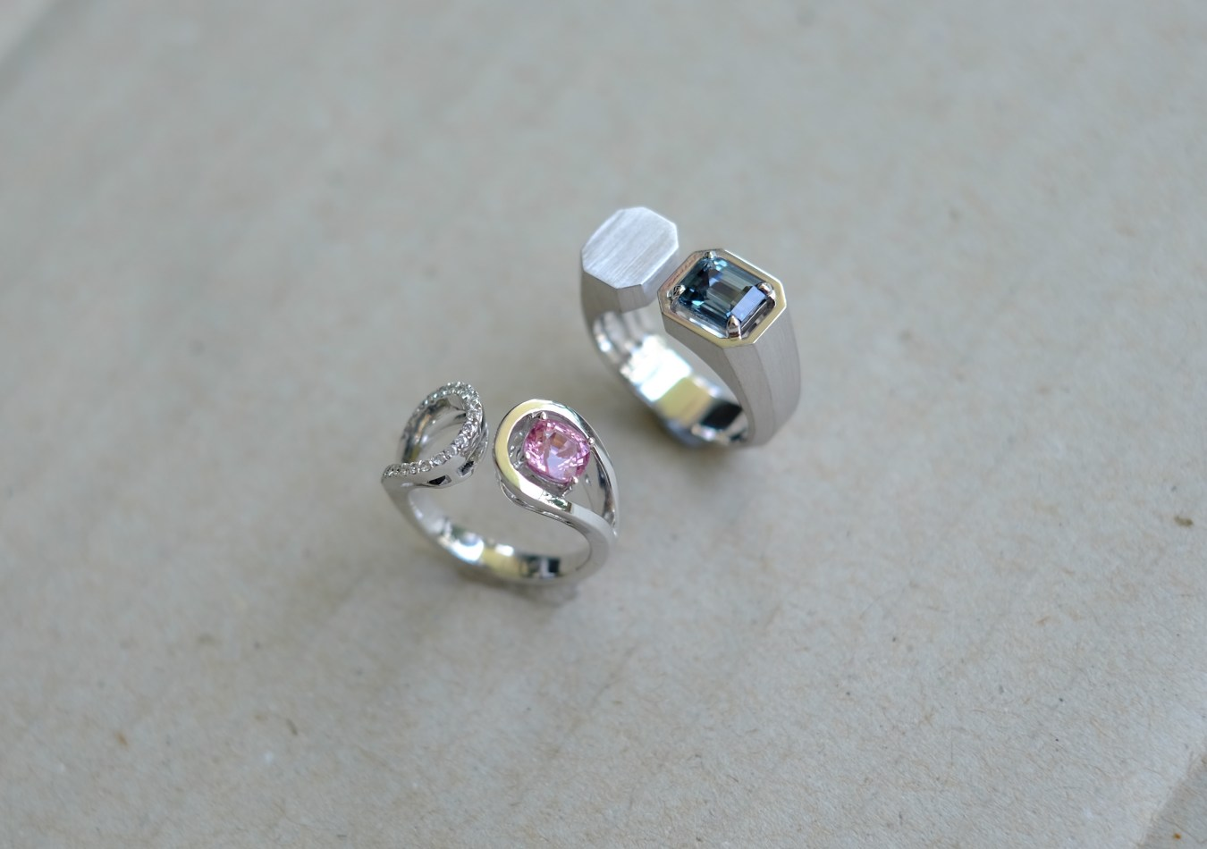 Pink Spinel Blue Spinel Matching Wedding Bands
