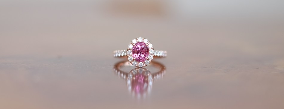 Pink Spinel Engagement Ring 18K Rose Gold