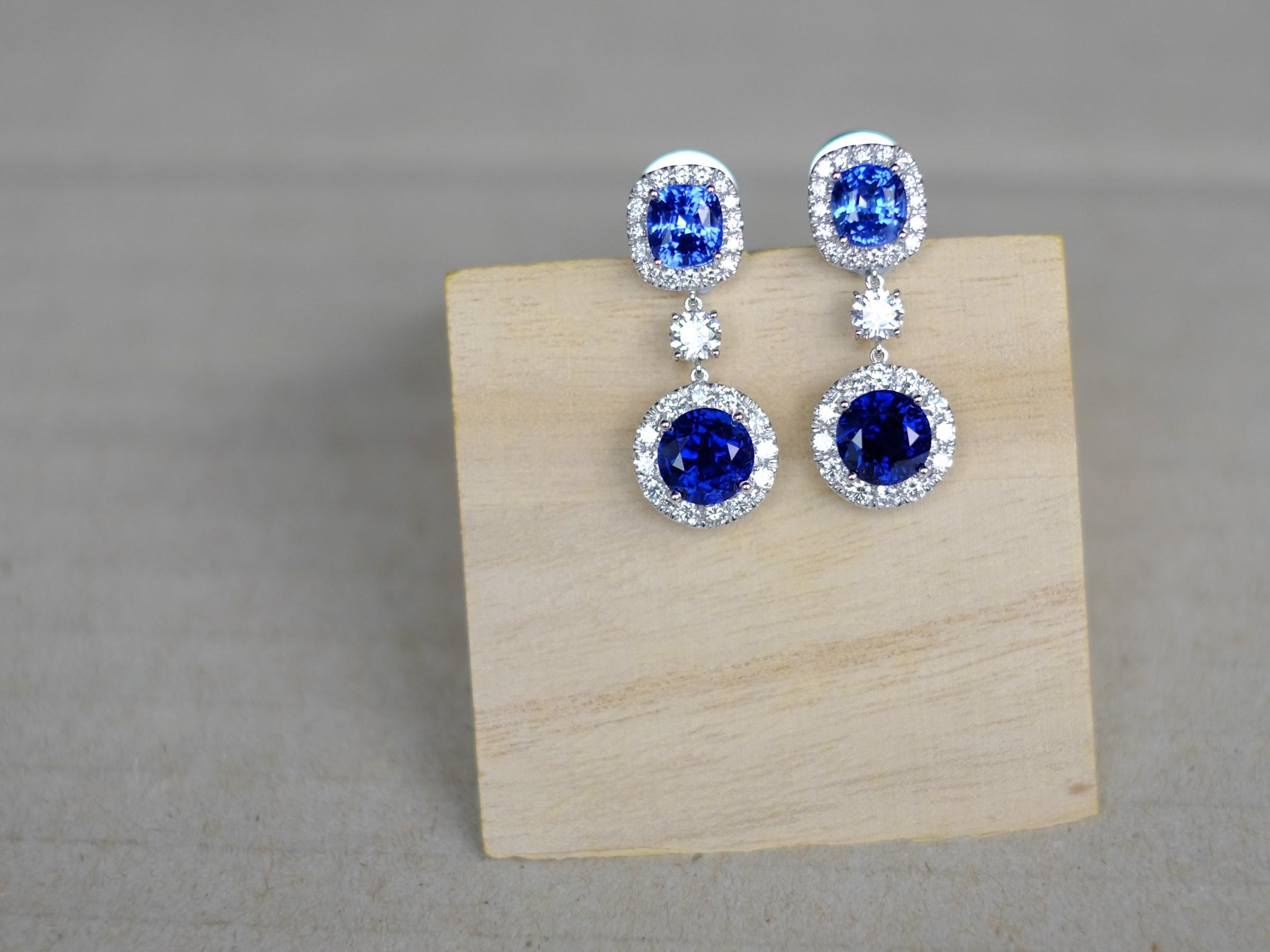 Unheat Blue Sapphire Earrings