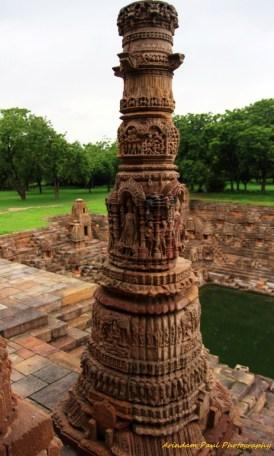 Carved Pillar In Front Of Sabha Mandap