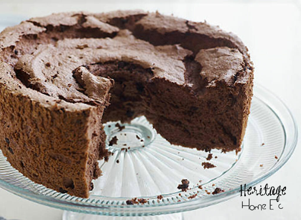 Chocolate Angel Food Cake- Heritage Home Ec Chocolate Angel Food Cake is a compromise between my husband and myself. He hates Angel Food; I love it. By making this version with chocolate added, we both get something that we like for dessert. | Chocolate Angel Food Cake | Baking | Cake | Homemade | Homemaking |