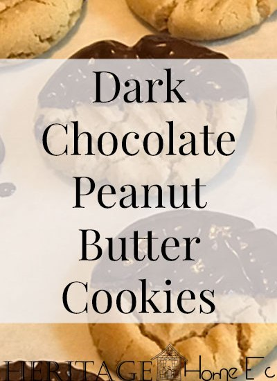 Dark Chocolate Dipped Peanut Butter Cookies- Heritage Home Ec These homemade Dark Chocolate Dipped Peanut Butter cookies are sure to please. Creamy peanut butter and dark chocolate. What could be better? | Dessert | Baking | Cookies | Sweets |