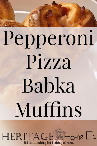Pepperoni Pizza Babka Muffins- Heritage Home Ec I love portable foods. These Pepperoni Pizza Babka Muffins are sure to be a family favorite once you try them. Kid-friendly and family approved! | Kid-Friendly | Baking and Breads | Snacks | Main Dishes | Pizza Muffins |