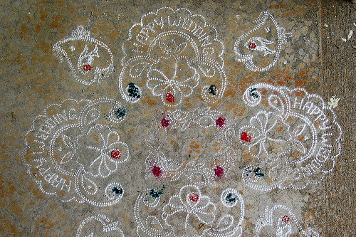 Chalk (rangoli) decorations