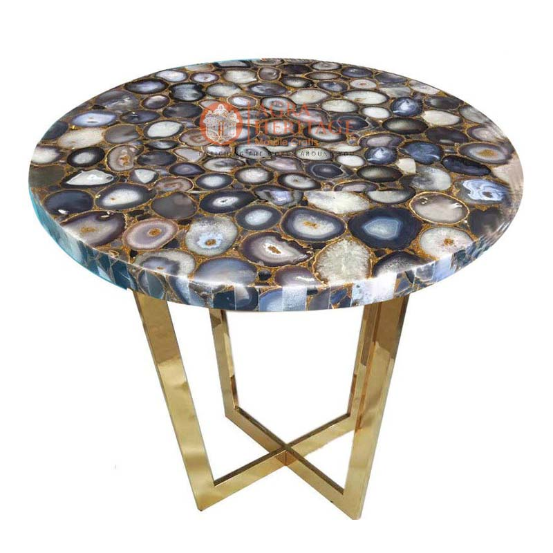top black agate stone handmade coffee table
