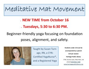 Meditative Mat Movement with Susan Turnage, RN, CYN-certified Yoga Nurse @ Heritage Public Library | New Kent | Virginia | United States