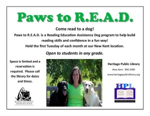 Paws To Read @ Heritage Public LIbrary | New Kent | Virginia | United States