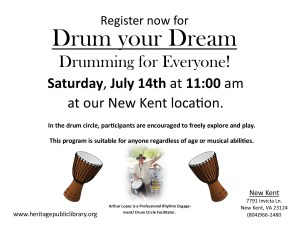 Drum your Dream with Arthur Lopez @ Heritage Public Library | New Kent | Virginia | United States