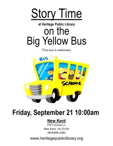 Big Yellow Bus Story Time @ Heritage Public Library  | New Kent | Virginia | United States
