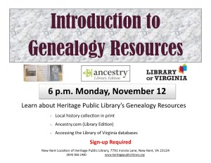 Introduction to Genealogy Resources @ Heritage Public Library | New Kent | Virginia | United States