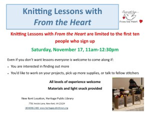 Knitting Lessons with From the Heart @ Heritage Public Library | New Kent | Virginia | United States