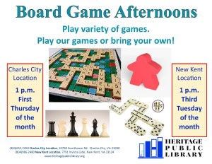 Board Game Afternoons - NK @ Heritage Public Library | New Kent | Virginia | United States