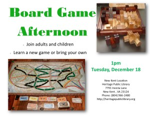 Afternoon Board Games @ Heritage Public Library | New Kent | Virginia | United States