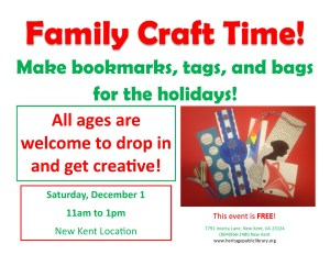 Family Craft Time @ Heritage Public LIbrary | New Kent | Virginia | United States