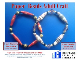 Adult Craft - paper bead making @ Heritage Public Library | Charles City | Virginia | United States