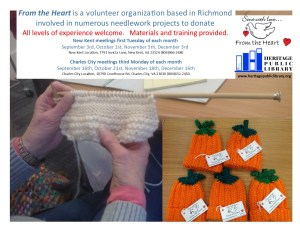 From the Heart Knitters Group @ Heritage Public Library - CC | Charles City | Virginia | United States