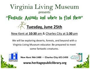 "Virginia Living Museum - ""Fantastic Animals and Where to Find Them"" @ Heritage Public Library 