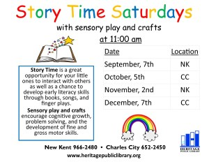 Story Time Saturdays @ Heritage Public LIbrary | Charles City | Virginia | United States