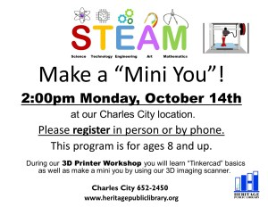 "Make a ""Mini You""! @ Heritage Public LIbrary 