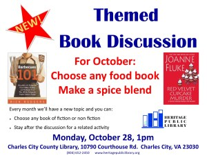 "Themed Book Discussion ""Food"" @ Heritage Public LIbrary 