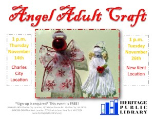 Angel Adult Craft @ Heritage Public Library. | Charles City | Virginia | United States