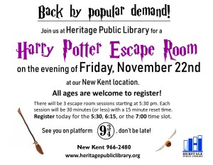 Harry Potter Escape Room @ Heritage Public LIbrary | New Kent | Virginia | United States