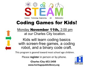 Coding Games for Kids! @ Heritage Public LIbrary | Charles City | Virginia | United States