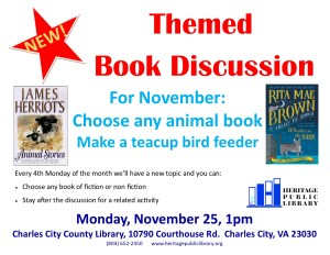 Themed Book Discussion - Animal Books @ Heritage Public LIbrary | Charles City | Virginia | United States