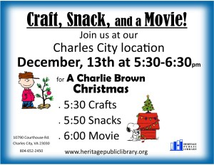 Craft, Snack, and a Movie! @ Heritage Public LIbrary | Charles City | Virginia | United States