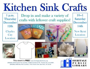 Kitchen Sink Crafts @ Heritage Public Library | Charles City | Virginia | United States