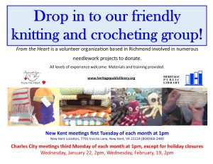 From the Heart Knitting & Crochet Group @ Heritage Public Library - CC | Charles City | Virginia | United States