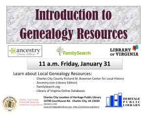 Introduction to Genealogy Resources @ Richard M. Bowman Center for Local History | Charles City | Virginia | United States