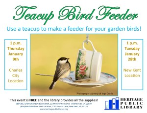 Teacup Bird Feeder @ Heritage Public Library | New Kent | Virginia | United States