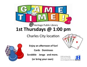 Game Time! - CC @ Heritage Public LIbrary | Charles City | Virginia | United States