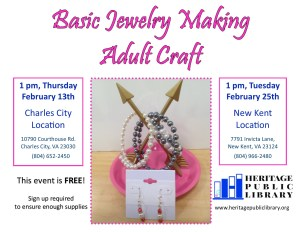 Adult Craft Basic Jewelry Making @ Heritage Public Library | New Kent | Virginia | United States