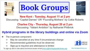 Book Discussion Group Hybrid @ Heritage Public Library | New Kent | Virginia | United States