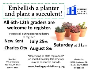 CANCELLED - Embellish a Planter & Plant a Succulent! @ Heritage Public Library | Charles City | Virginia | United States