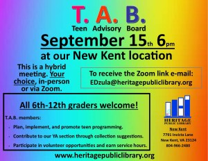 T.A.B Hybrid Meeting @ Heritage Public Library | New Kent | Virginia | United States